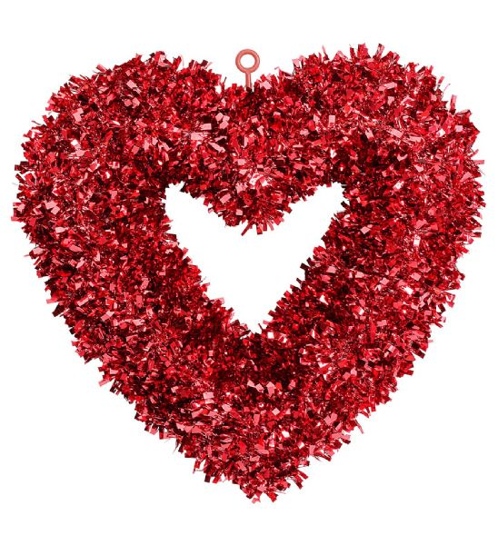 ST. VALENTINE'S DAY TINSEL HEART 46x44cm Decoration St. Valentine